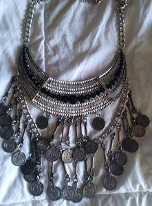 Jewelry - NWOT Boho tribal coin necklace bib